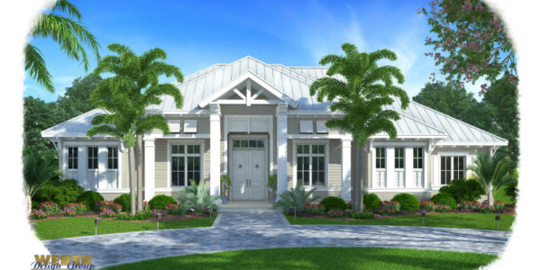 Barbados custom home front elevation