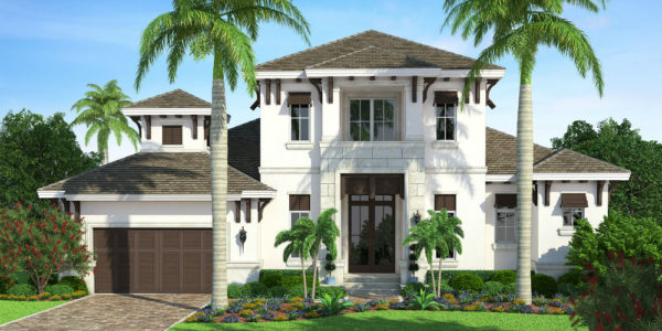 Edgewater custom home front elevation