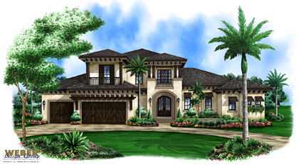 Mustique custom home front elevation