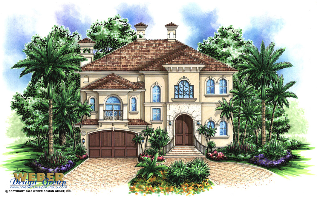 Saint Tropez custom home front elevation