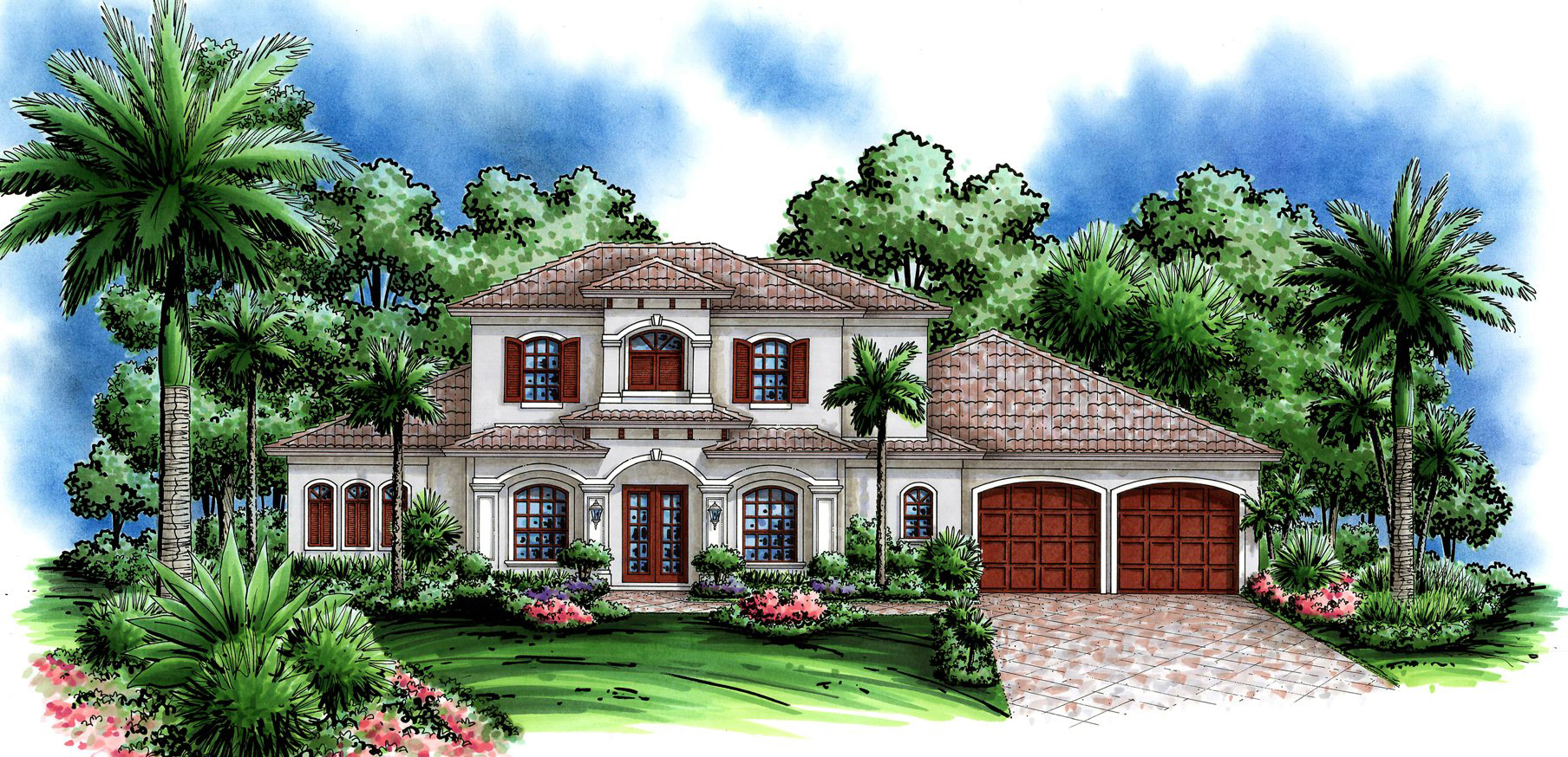 Palermo custom home front elevation