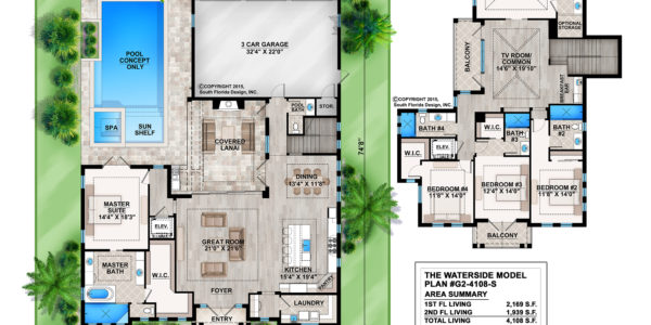 Waterside Custom home model plan
