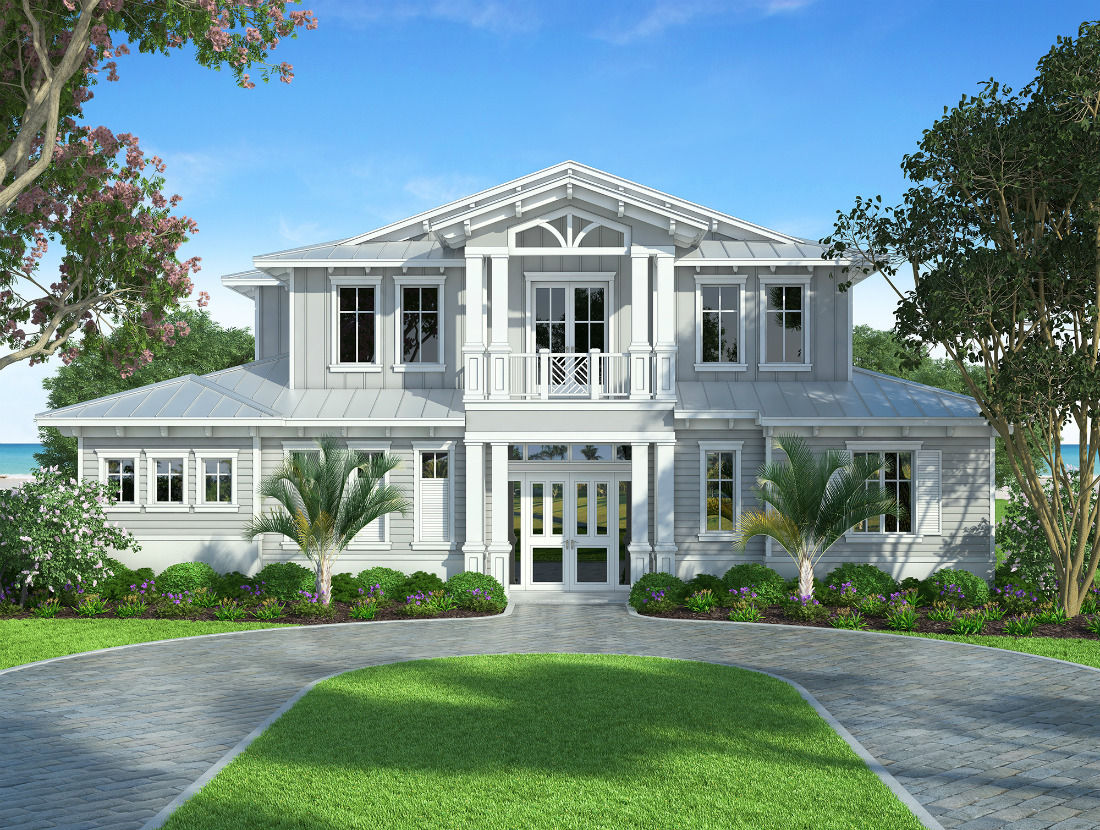 Waterside custom home front elevation