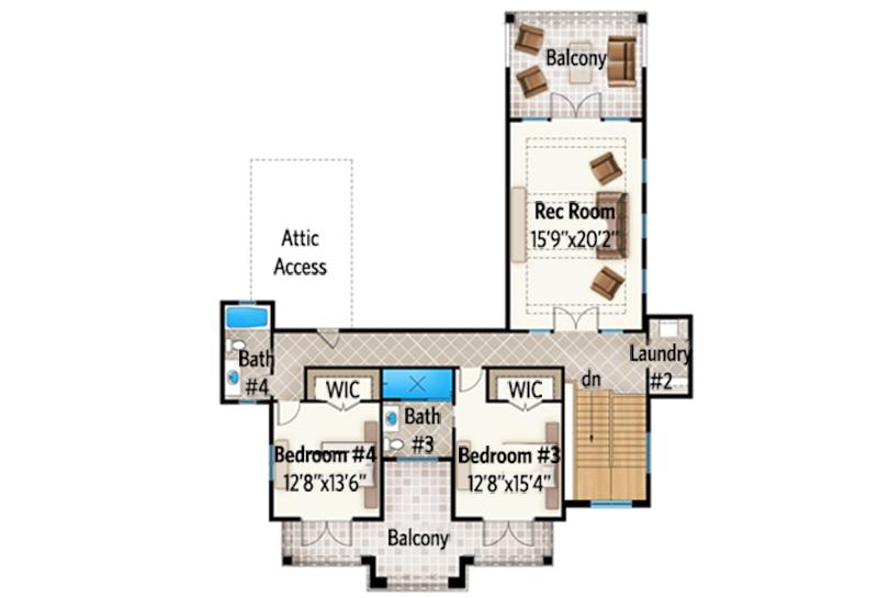 spacious florida house plan with rec room - 3 Bedroom House Plans With Rec Room