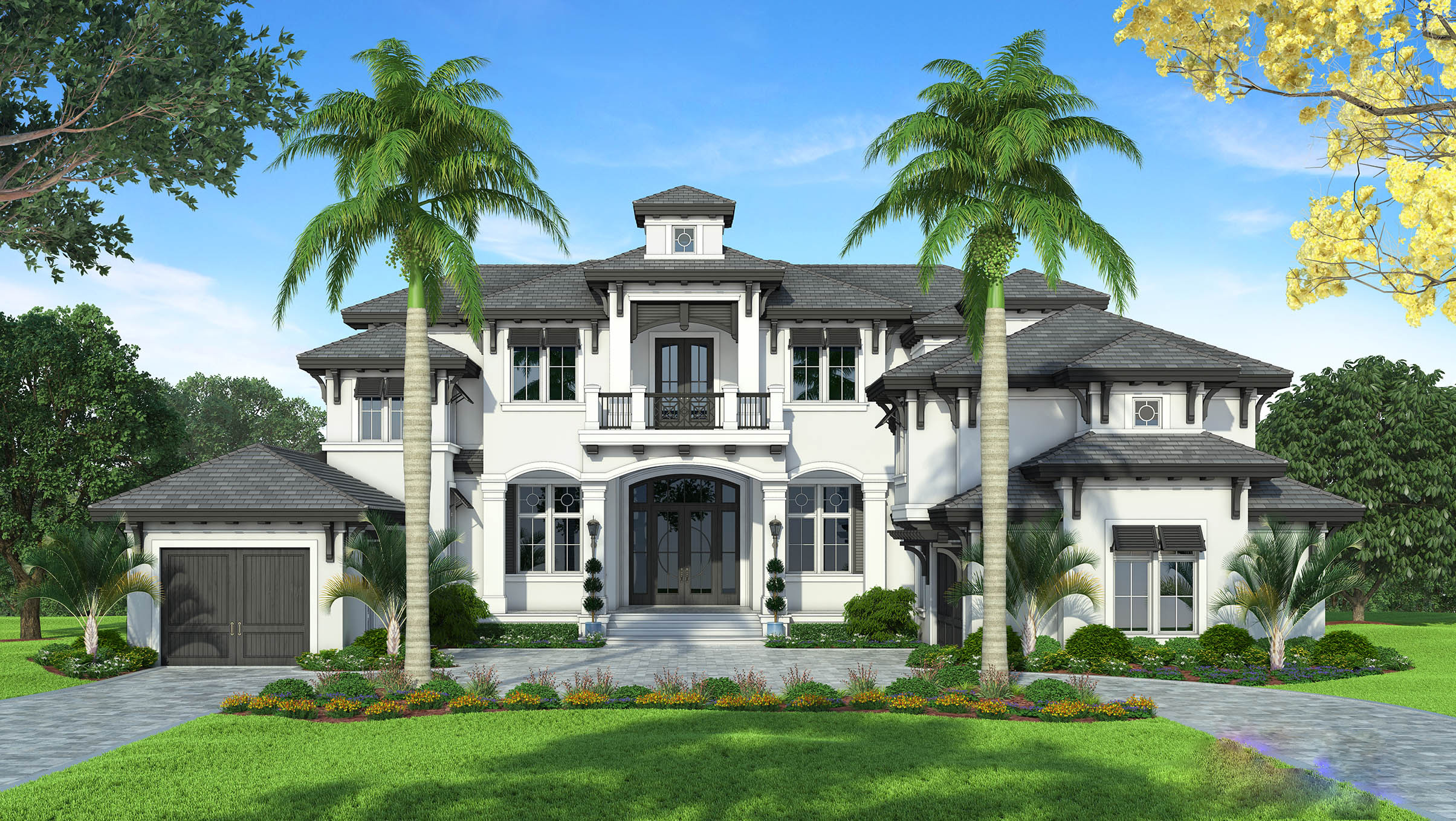 Grand florida house plan with junior master suite budron for Florida cottage plans