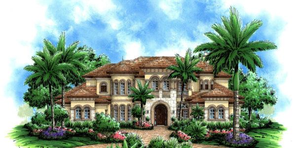 Mediterranean home - front rendering